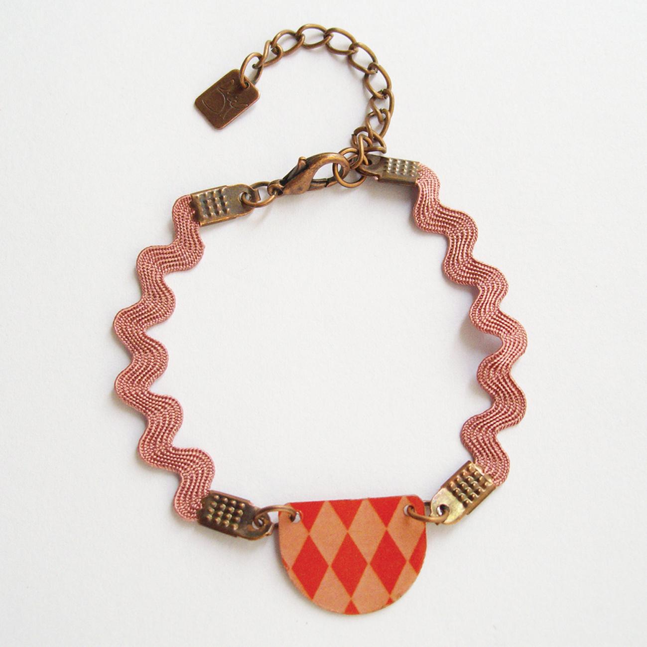 Bracelet Luna rouge - laiton cuivré