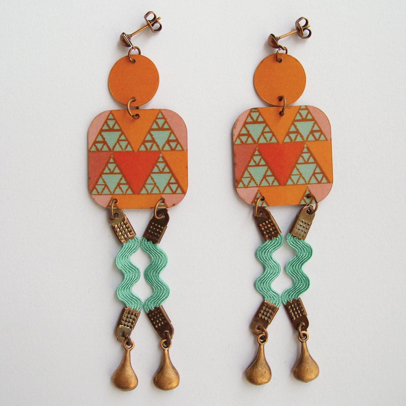 Boucles d'oreilles Abina 2 rubans Orange-Bleu - laiton cuivré