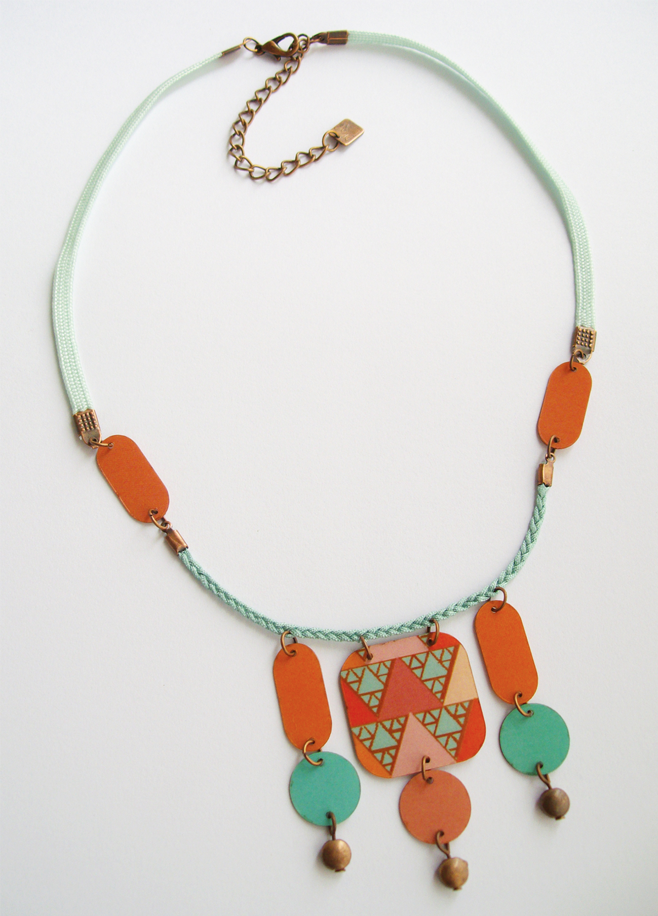 Collier Alda Orange-Bleu - laiton cuivré