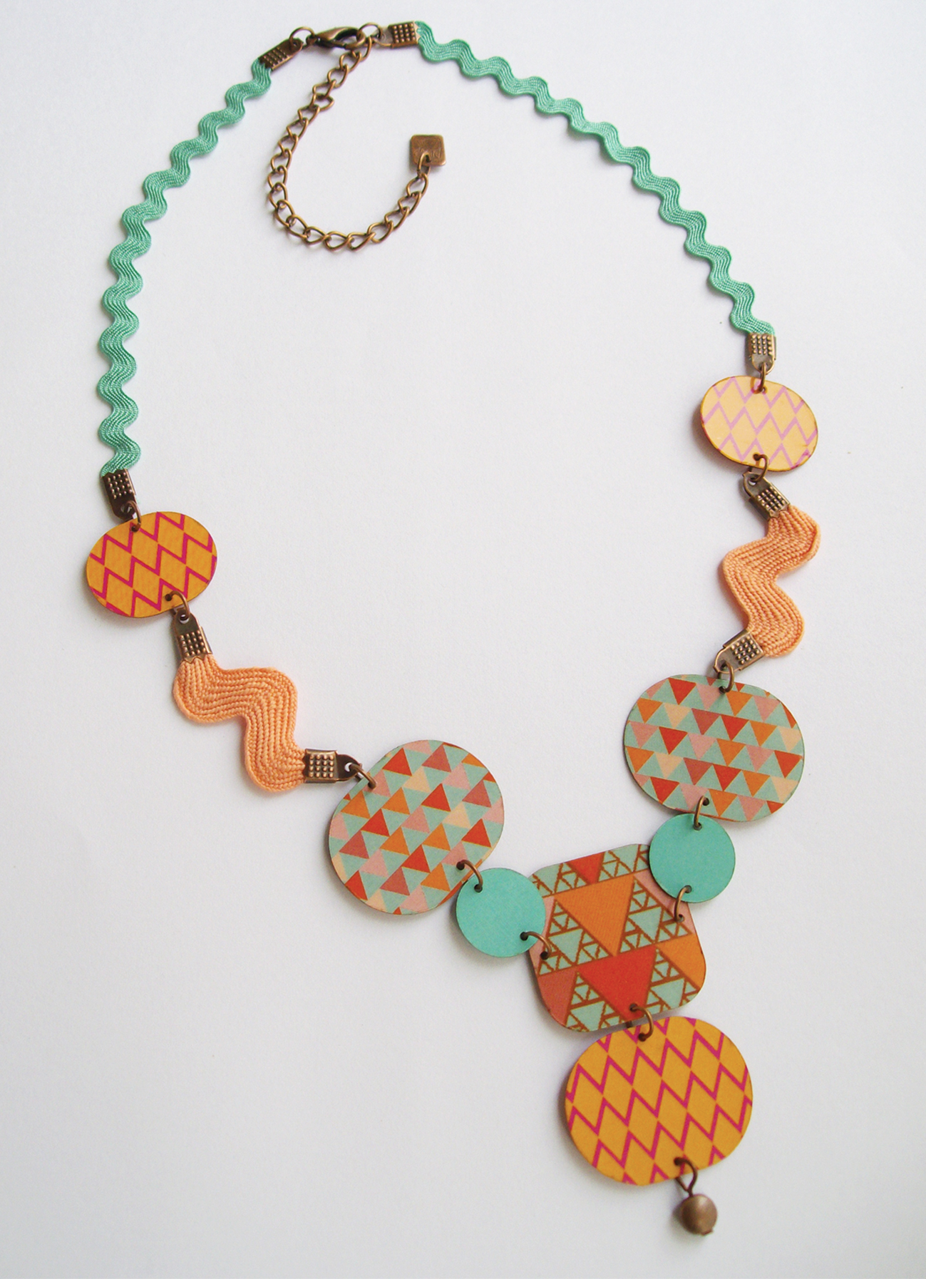 Collier Abina Orange-Bleu - laiton cuivré
