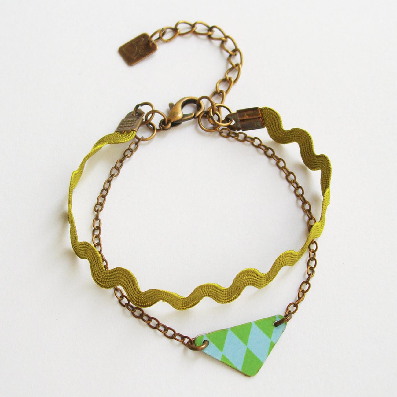 Bracelet Clessia vert - laiton cuivré