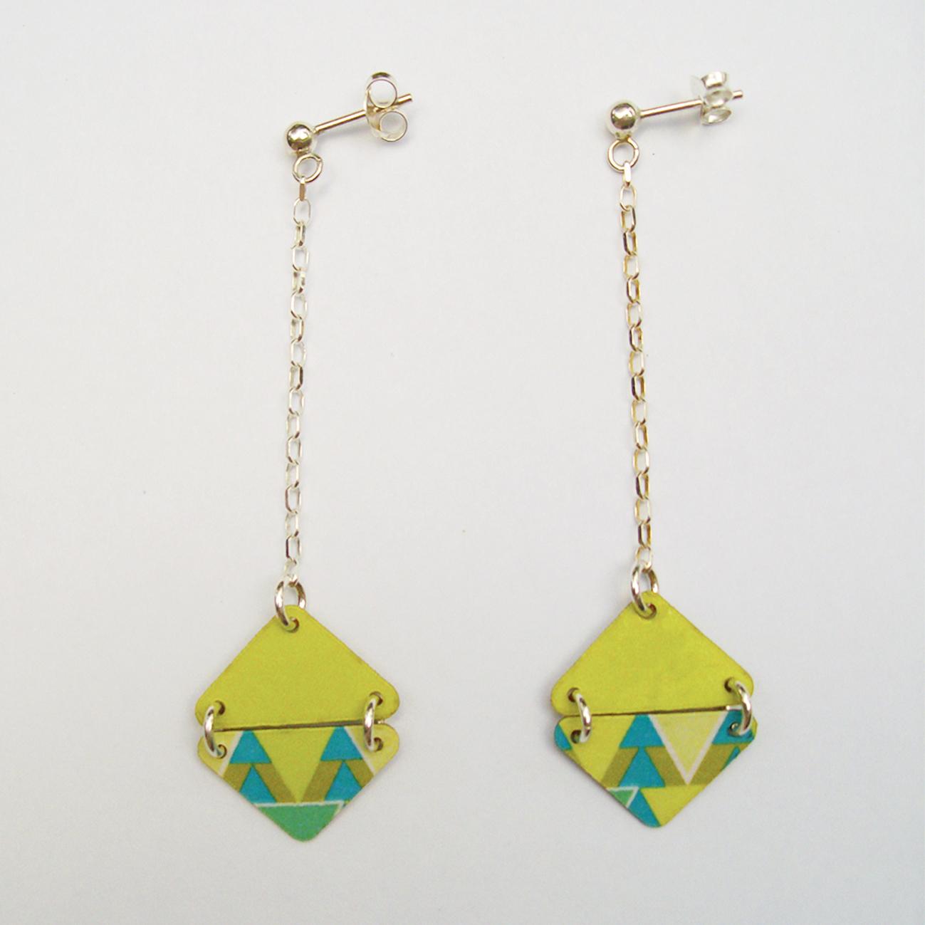 Boucles d'oreilles Clessia longues vertes - argent 925
